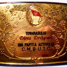 5.238 ROMANIA PLACHETA UTC DIN PARTEA ACTIVULUI CMB 1983 DINU DRAGAN 96/70mm - Medalii Romania