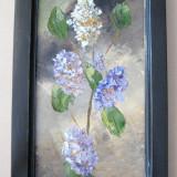 Flori de liliac tablou pictat in ulei pe panza natura statica moarta - Pictor roman, Realism