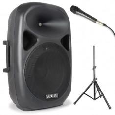 Vexus SPS 152 PA difuzor cu accesorii, 600W max., Bluetooth, USB, SD, MP3, AUX, trepied, microfon