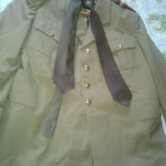 Tinuta militara pantaloni haina si 2 cravate - Uniforma militara, Marime: 48, Culoare: Verde
