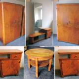 Set mobila schelet lemn masiv furnir nuc, dormitor living sufragerie, dulap hol