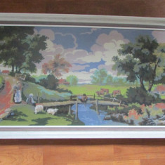 GOBLEN-PEISAJ RURAL-dimensiuni mari, inramat, sticla de protectie, vintage - Tapiterie Goblen