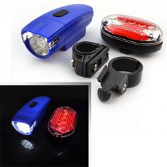 Set far 8 LED fata si stop spate 5 LED pentru bicicleta