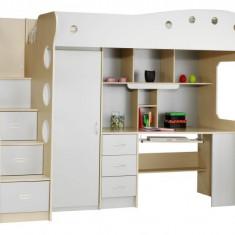 Vand pat etajat cu mobila si birou incorporat - Set mobila copii Altele