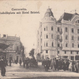 BUCOVINA , CERNAUTI ,  PIATA  RUDOLF  CU  HOTEL  BRISTOL , CIRCULATA  1922