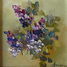Tablou ulei( 15/15 cm)-LILIAC - Pictor roman, Flori, Impresionism
