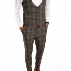 Compleu tip ZARA VESTA + PANTALONI - costum barbati casual office - 6587 - Pantaloni barbati, Marime: M, Culoare: Din imagine