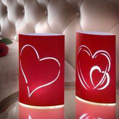 Felinare de Hârtie cu LED Inimă (pachet de 2)