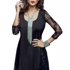 M456-1 Bluza asimetrica eleganta, cu insertii din dantela - Bluza dama, Marime: S