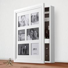 Dulap Cutie de Bijuterii din Lemn cu Ramă Foto Multiplă - Cutie Bijuterii