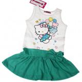 Rochie Hello Kitty verde turcoaz 4 ani, Alta, Alb