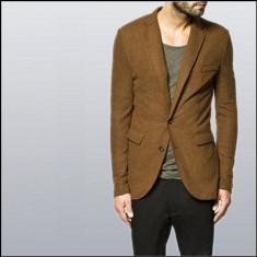 Zara sacou nou-nout nepurtat slimfit marimea s pret magazin 349 il dau cu 120 - Sacou barbati Zara, S, Maro