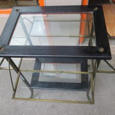 Mobilier - Gheridon/masa de servit, inedit, interbelic, din lemn, alama si cristal bizotat