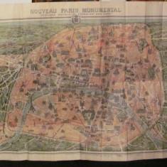 GE - Harta veche interbelica Paris Franta deosebita dubla fata Editura Garnier