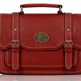Geanta dama rosie casual stil postas /Geanta retro mesager de scoala si servici