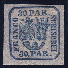 ROMANIA 1864, PRINCIPATELE UNITE VALOAREA 30 PARALE CU SARNIERA - Timbre Romania, Nestampilat
