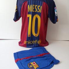 Set echipament fotbal - Echipamente sportive copii FC.Barcelona Messi compleu fotbal model nou 2016-2017