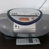 Radiocasetofon cu CD/MP3 Sony CFD-S35CP, telecomanda, impecabil - Combina audio Sony, 0-40 W