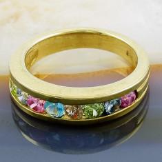 Inel argint - Inel din Argint 925, Placat cu Aur 18K, cu Pietre Multicolore