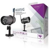 Camera Wi-Fi exterior HD IP66 negru pentru SAS-CLALARM Konig