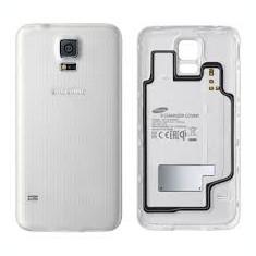 Pachet Capac spate Samsung Galaxy S5 G900F original alb negru + folie sticla - Capac baterie