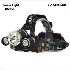 Lanterna Frontala Power-Light BORUIT F17-T6 cu 3 Leduri CREE Super Power NOU
