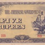 OCUPATIA JAPONEZA IN BURMA 5 rupees 1942 VF+++!!!, Asia, An: 1942