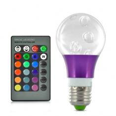 Bec / LED - Bec cu LED-uri Cristal 3W RGB 16 Culori, 270 Lumeni, cu Telecomanda