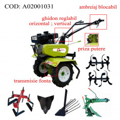 Gardelina Motocultor A02001031, 7 CP, freze, roti, plug LY reversibil, rarita fixa, plug cartofi, 700-1000 mm