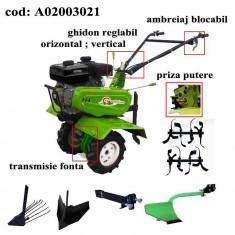 Gardelina Motocultor A02003021, 7 CP, freze, roti, plug hoby, rarita reglabila, plug cartofi, cupla, 1000 mm