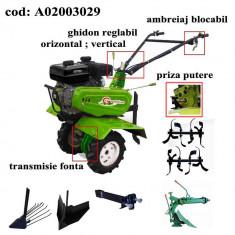 Gardelina Motocultor A02003029, 7 CP, freze, roti, plug LY reversibil, rarita reglabila, plug cartofi, cupla, 1000 mm