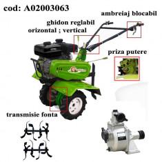 Gardelina Motocultor A02003063, 7 CP, freze, roti cauciuc, pompa apa, 1000 mm
