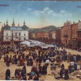 Romania, Maramarossziget, Sighetu Marmatiei carte postala  1917: Piata, animat