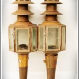 2 LĂMPI / FELINARE ELECTRICE DE TRĂSURĂ / FAETON, ALAMĂ ȘI STICLĂ, VECHI - 1900!, Lampi