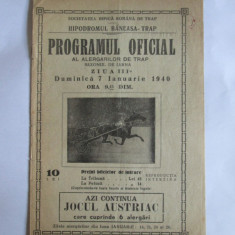 RARISIM! HIPODROMUL BANEASA-TRAP PROGRAMUL OFICIAL AL ALERGATORILOR /7 IAN.1940 - Pliant Meniu Reclama tiparita
