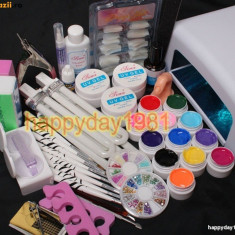 KIT SET Unghii false BeautyUkCosmetics GEL UV MANICHIURA, LAMPA uv 36 w --- 12 BUC GEL COLOR