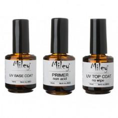 Unghii false - Kit base coat + primer non acid + top coat no wipe Miley