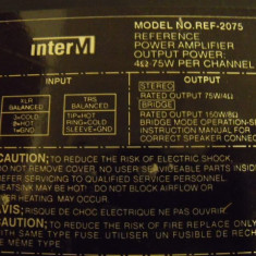 Amplificator Putere InterM REF 2075 - Amplificator audio, 41-80W