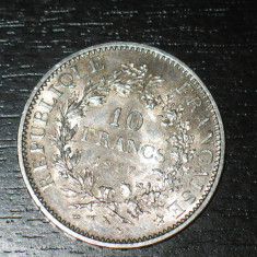 Moneda argint 10 franci Franta 1967, stare buna, Europa