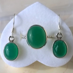 Inel (mărime 7, 5) și cercei argint 925 cu Onix Verde - Set bijuterii argint