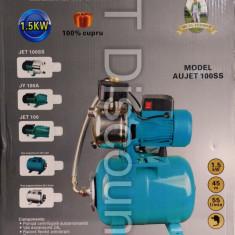 Hidrofor cu pompa centrifugala AUJET100SS 1500 W 100% bobinaj cupru vas 24L - Pompa gradina, Pompe de suprafata