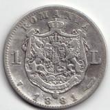 Monede Romania, An: 1937 - MONEDA 1 LEU 1881 ARGINTSTARE FOARTE BUNA