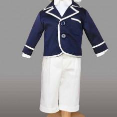 Trusou botez - Haine copii botez- costum baieti Samuel (Culoare: bleumarin/ alb, Imbracaminte pentru varsta: 0 - 3 luni - 62 cm)