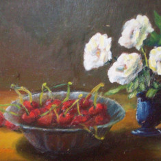 Scoala baimareana, natura statica cu fructe si flori, ulei/carton nesemnat - Tablou autor neidentificat, Impresionism