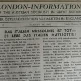 WWII -ZIARUL REZISTENTEI SOCIALISTE AUSTRIECE AFLATE IN EXIL IN ANGLIA -AUG 1943