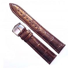 Curea ceas piele - Curea de ceas Piele MARO imprimeu Crocodil Curea ceas 22mm Curea maro