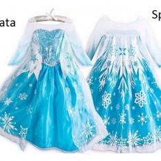 Model2 Rochita printesa Elsa rochie Frozen 3, 4, 5, 6, 7, 8 ani, Marime: Marime universala, Culoare: Albastru