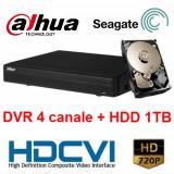 Camera CCTV - Kit DVR HDCVI Tribrid 4 canale 720P HCVR4104H-S2 cu HDD 1TB inclus