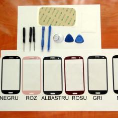 Sticla+Ustensile+Adeziv Samsung GALAXY S3 ALB Negru Albastru gri geam display - Geam carcasa