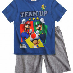 Pijama de vara Super Mario albastru/gri